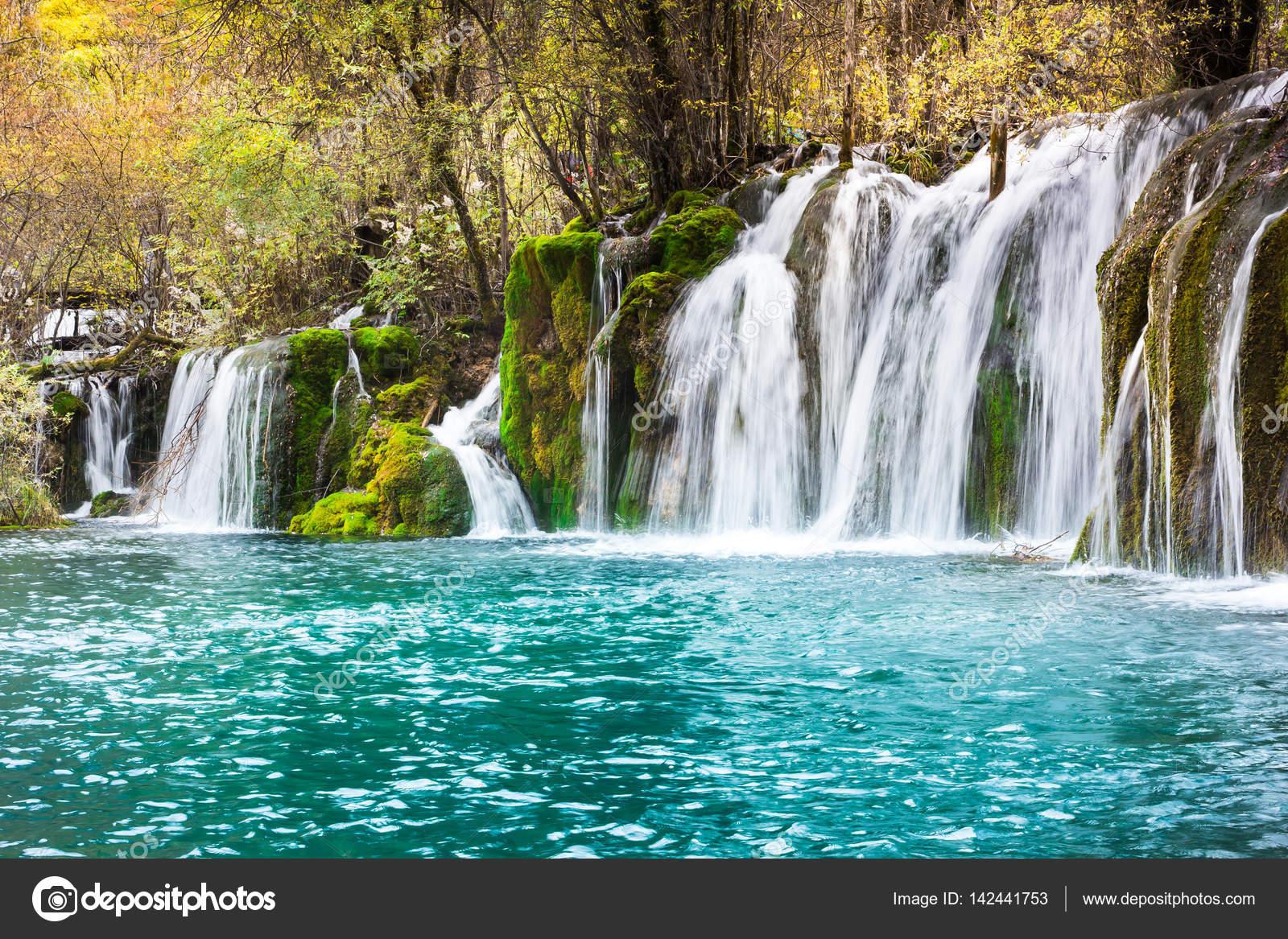 Pfeil Bambus Wasserfall Jiuzhaigou Szenische Stockfoto