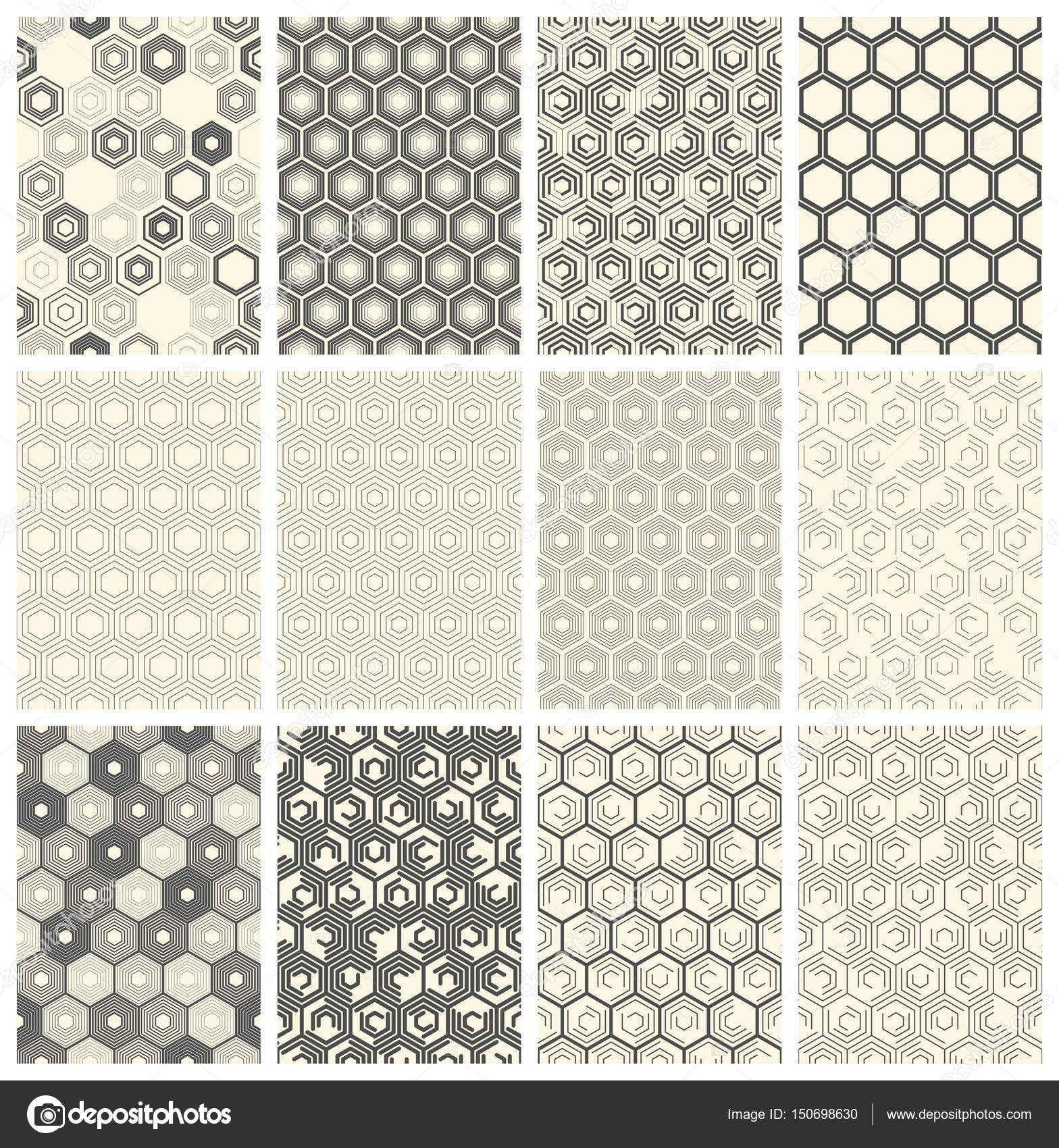 Seamless Geometric Pattern Set Vector Black And White Hexagon B