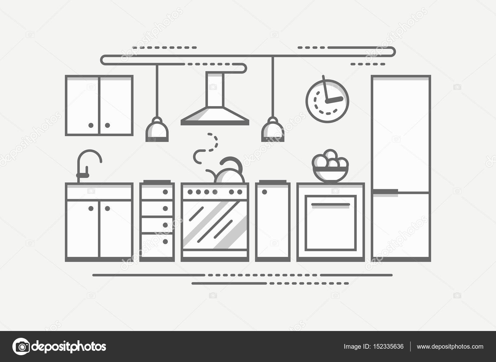Diseño de interiores de cocina monocromática. Planos estilo Vector ...