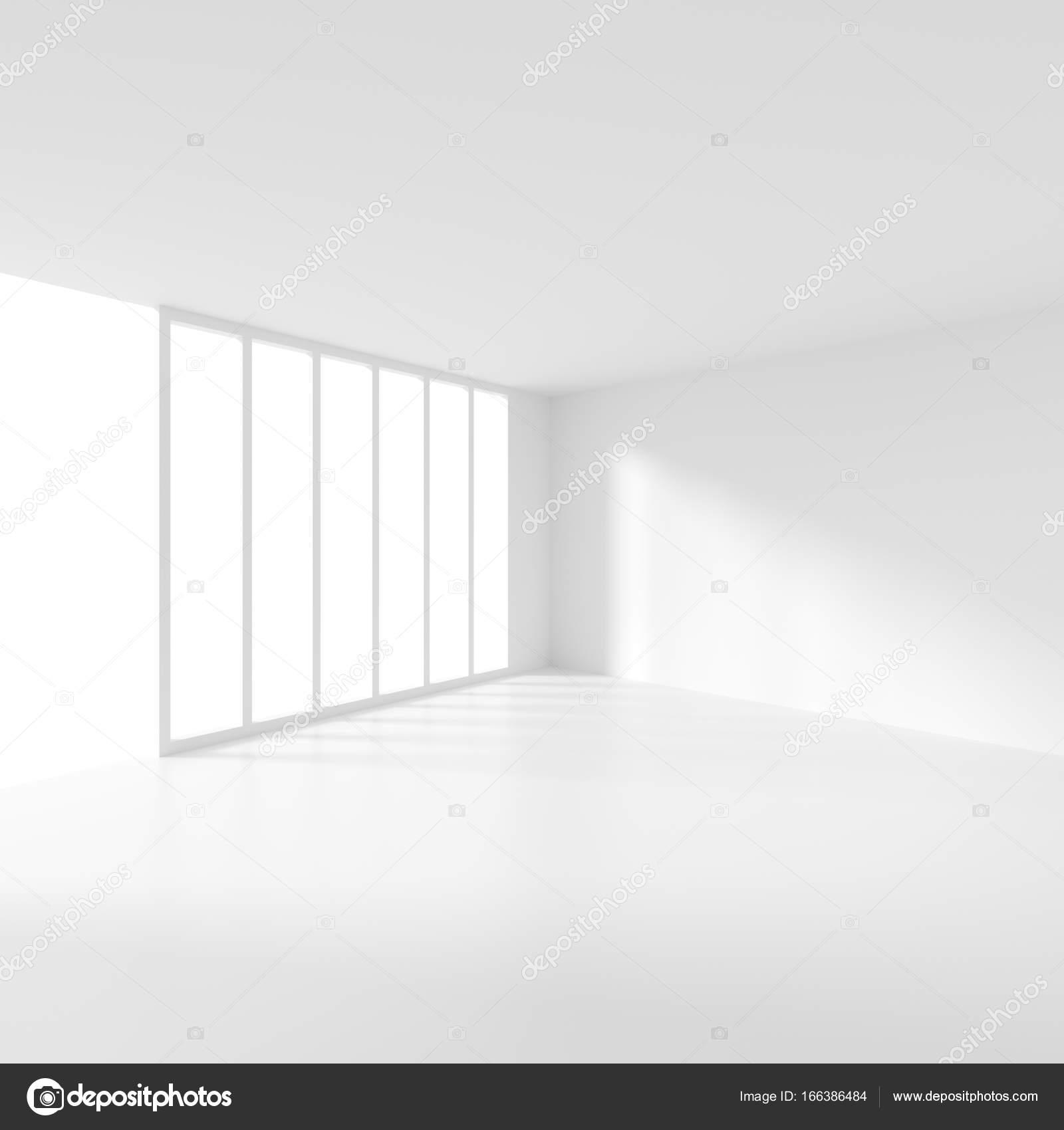 Schön Futuristische Interieur. Witte Lege Kamer Met Raam. Minimalistische Het  Abstracte Platform Achtergrond. 3D Rendering U2014 Foto Van Maxkrasnov