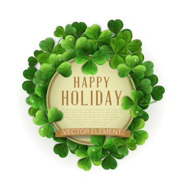 Happy Holiday text in frame of shamrocks