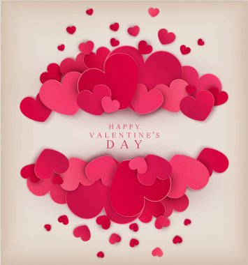 Vector festive background Valentine's Day. Template for postcards. Red hearts on a beige background with a card for the text. clip art vector