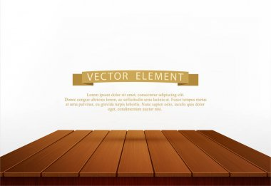 Vector wooden table isolated on white background. Element for de