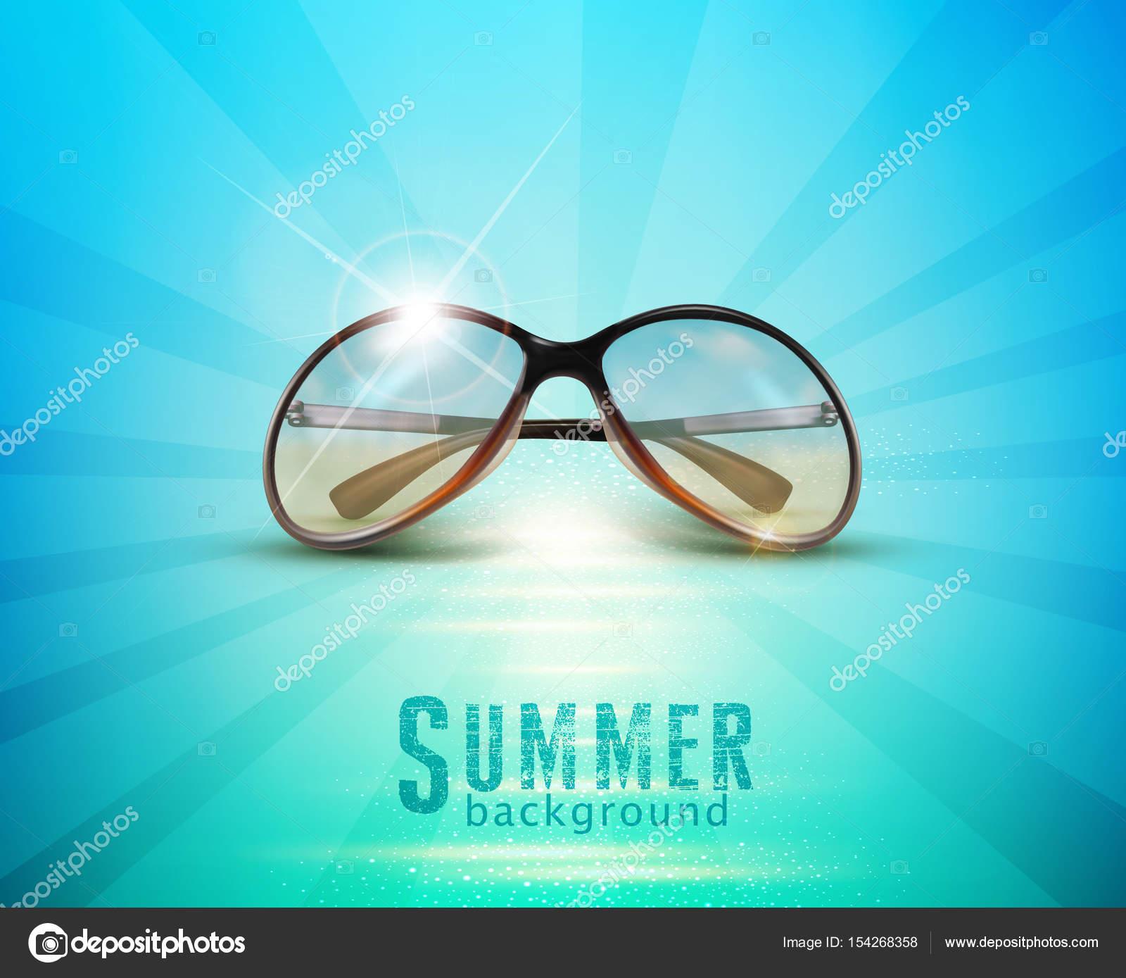 Sonnenbrillen In Sonne Liegen Gegen Blaue Meer Stockvektor