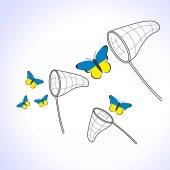 A zászló Ukrajna és merítő pillangók