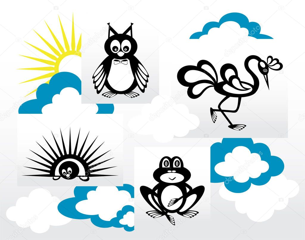 Set of silhouettes of animals in the clouds and the sun