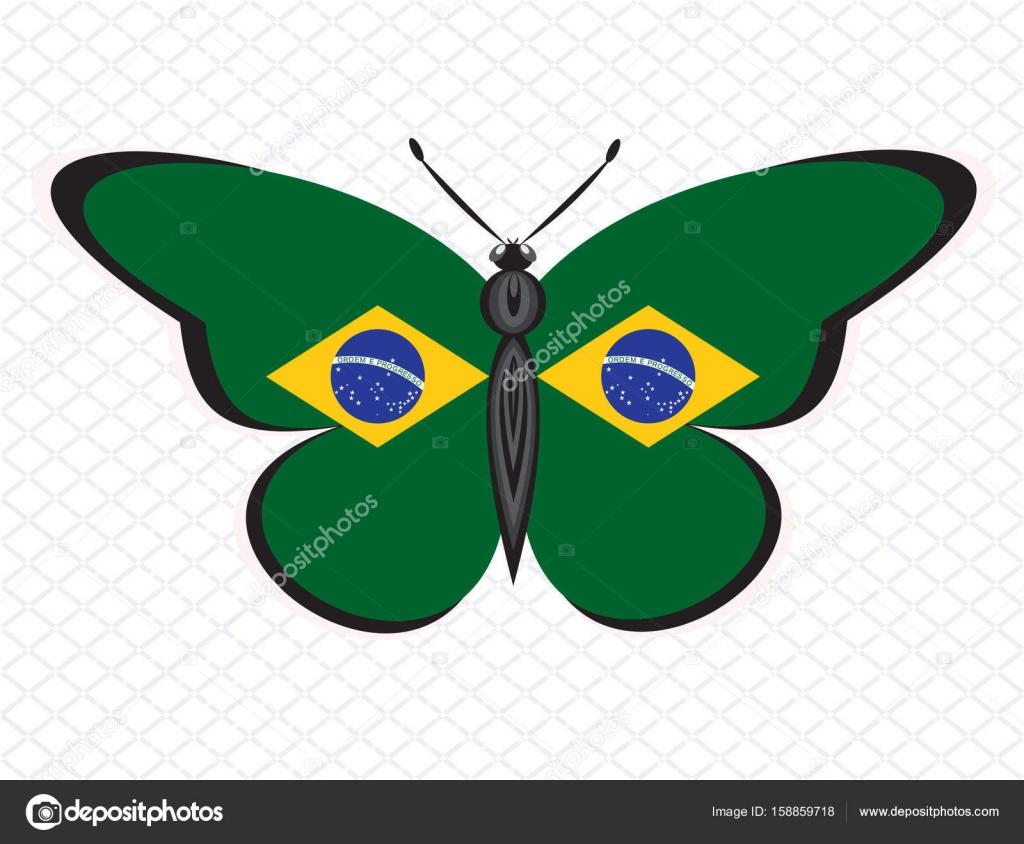 Bandera De Brasil Para Colorear La Mariposa Con Los