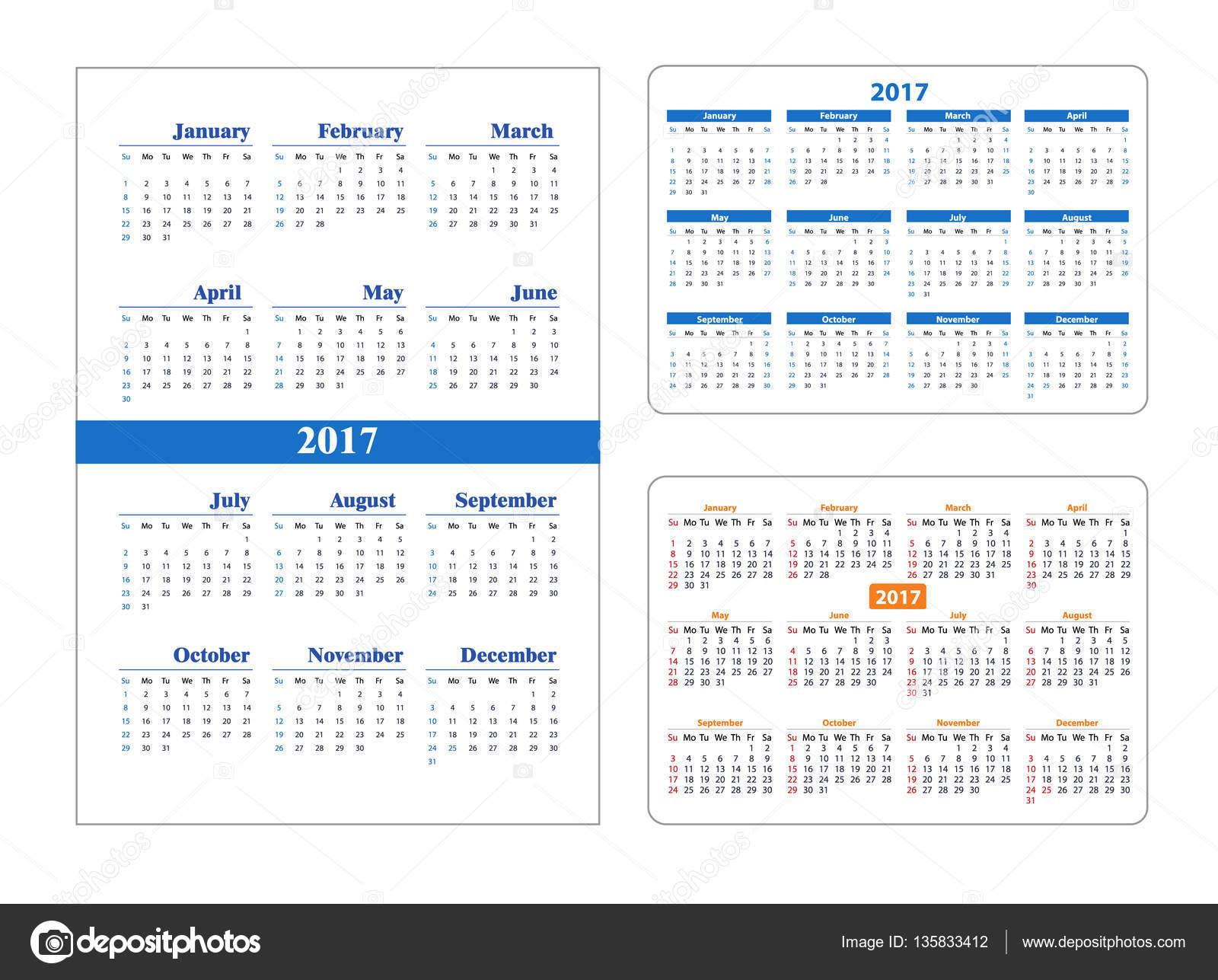 Calendario Anno 2017.Impostazione Del Calendario Anno 2017 Vettoriali Stock
