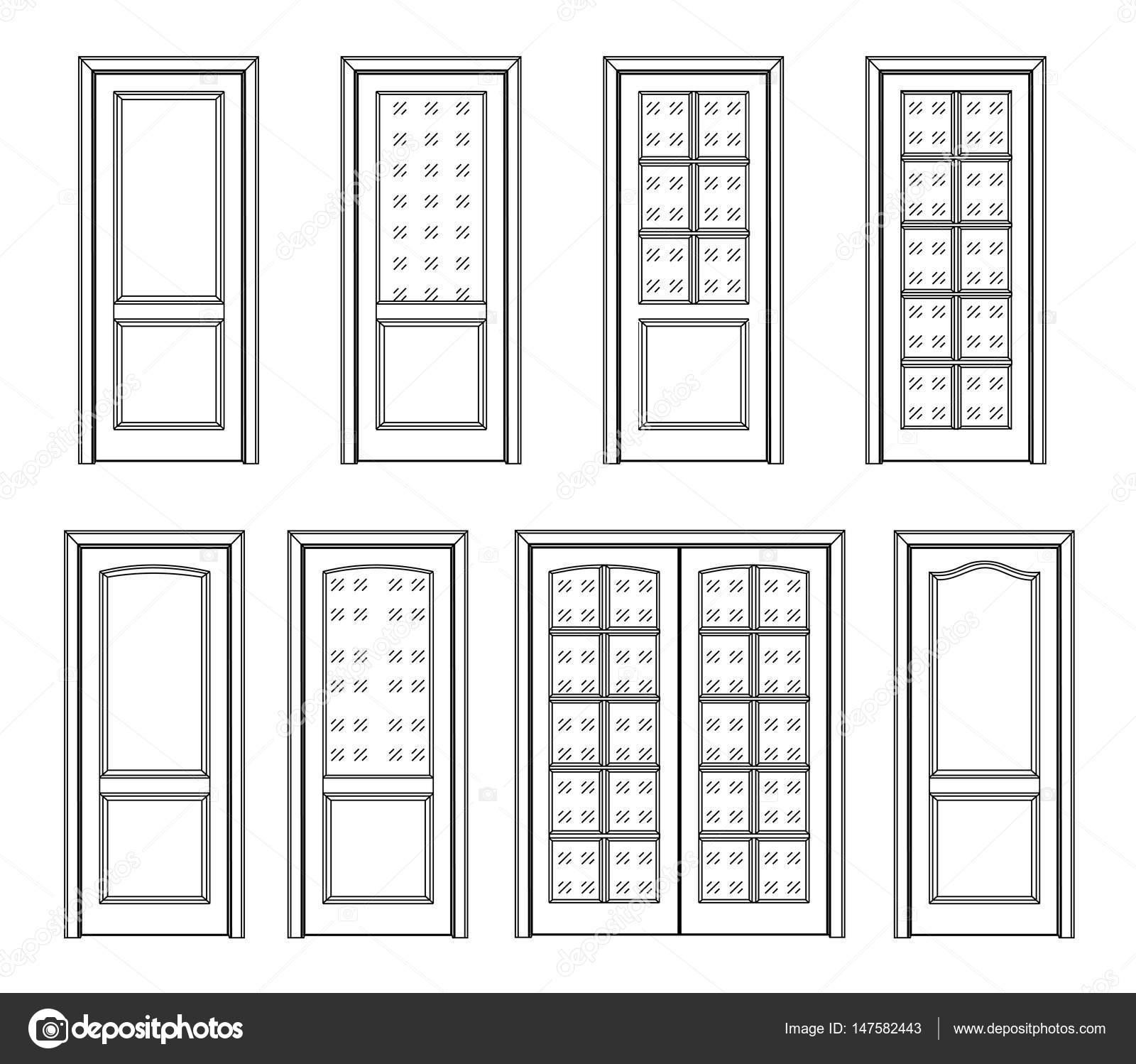 set di porte d\'interni — Vettoriali Stock © kornetka #147582443