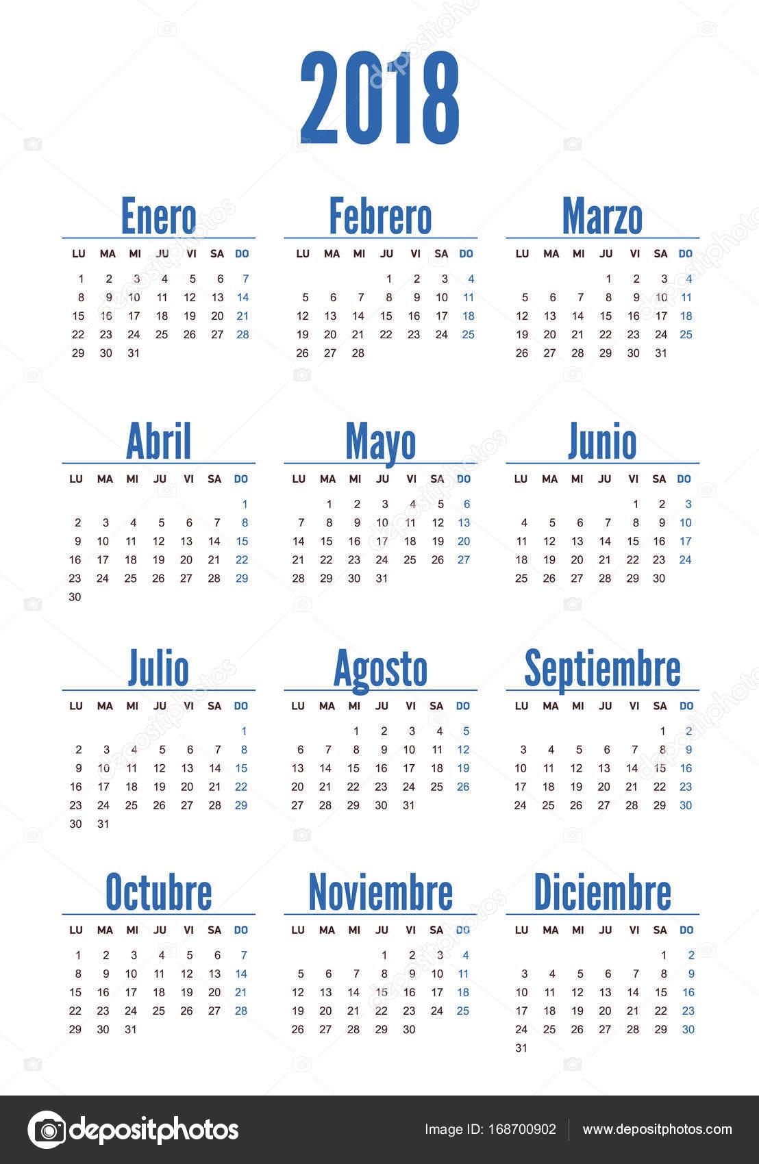 Spanish Vertical Calendar On 2018 Year Stock Vector Kornetka