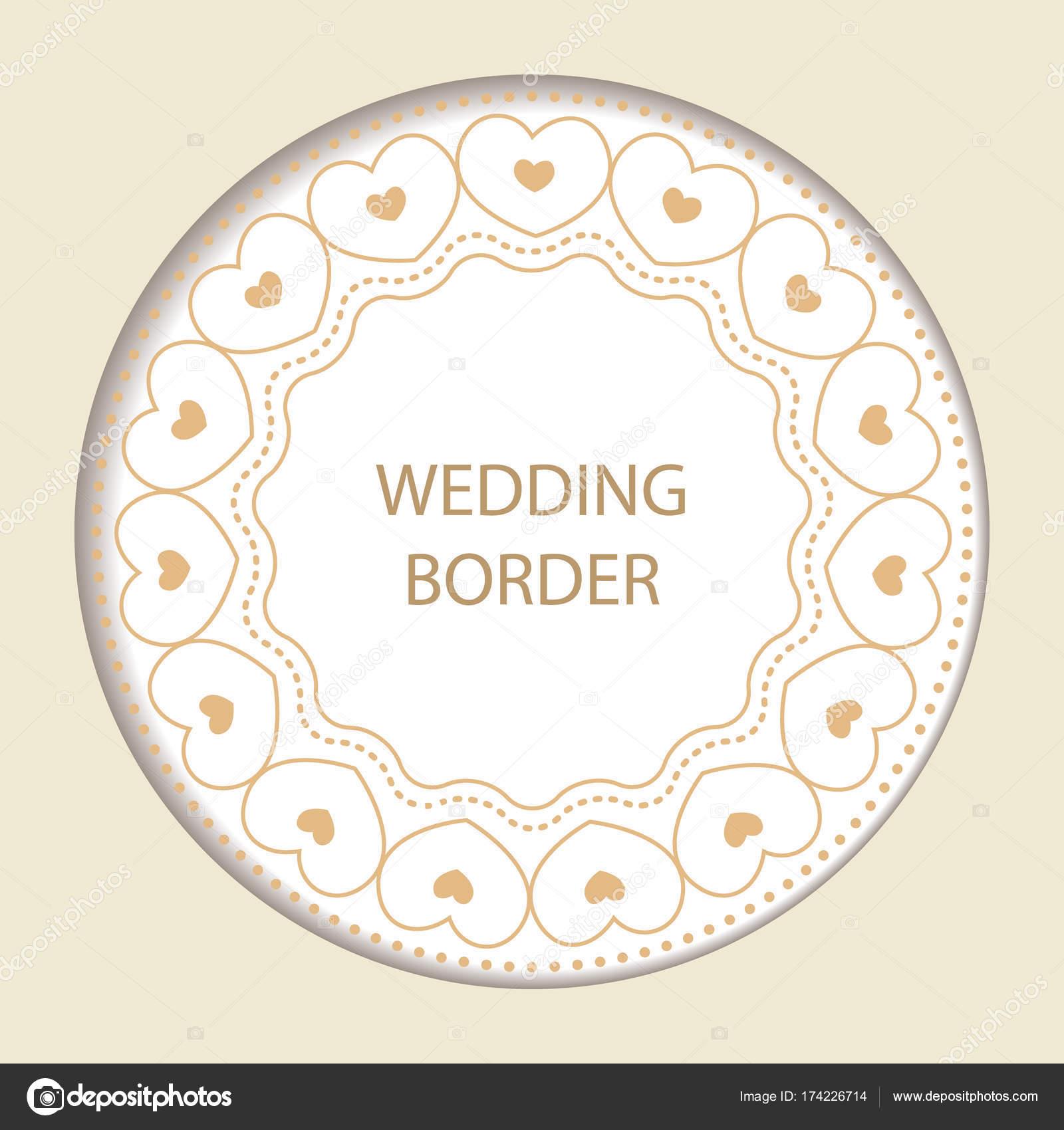 Runde Rahmen mit dekorativen Elementen. Hochzeitskarte mit gold hea ...