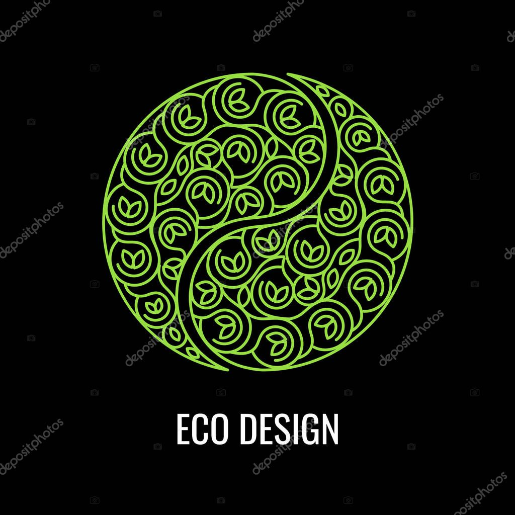 abstract natural linear logo green symbol yin yang on black background vector sign for eco design alternative chinese medicine and wellness zen meditation premium vector in adobe illustrator ai ai wdrfree