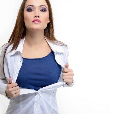 woman opening white shirt