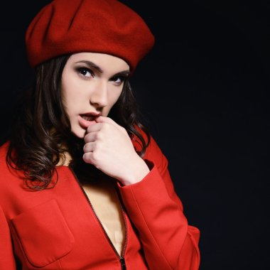 fashion girl in suit and beret