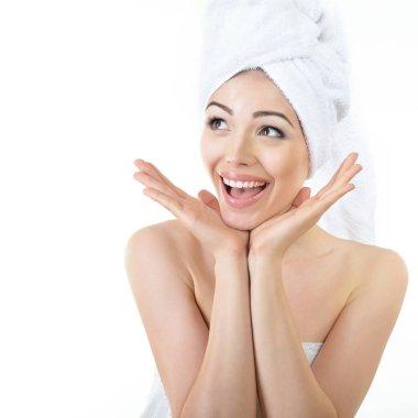 woman with bath towel