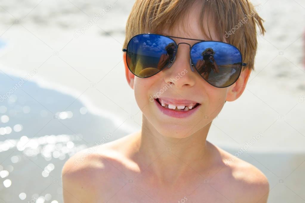 happy boy on beach