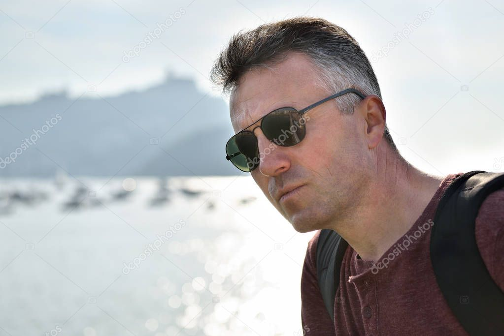 middle-aged man near sea