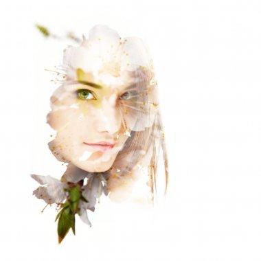 Double exposure portrait of woman