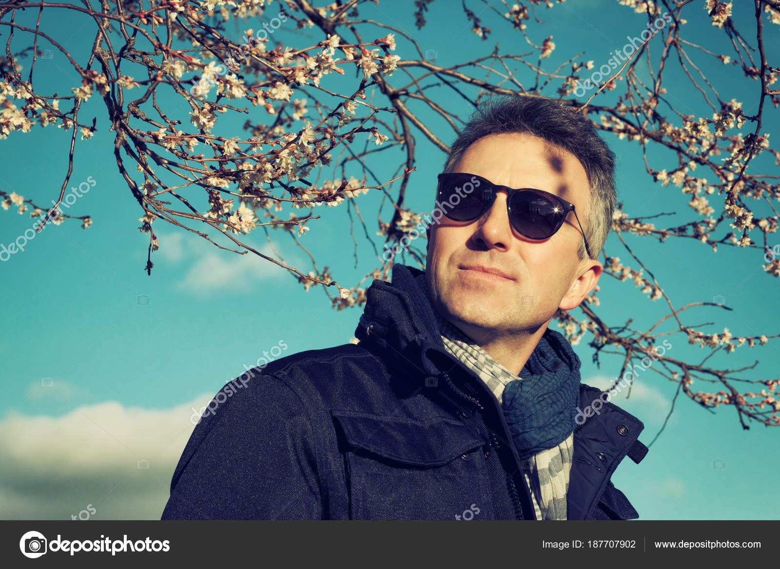 Handsome Man Outdoor Spring Male Portrait Attractive Confident Middle Aged Posing Over Blooming Tree And Blue Sky Photo By Khorzhevska