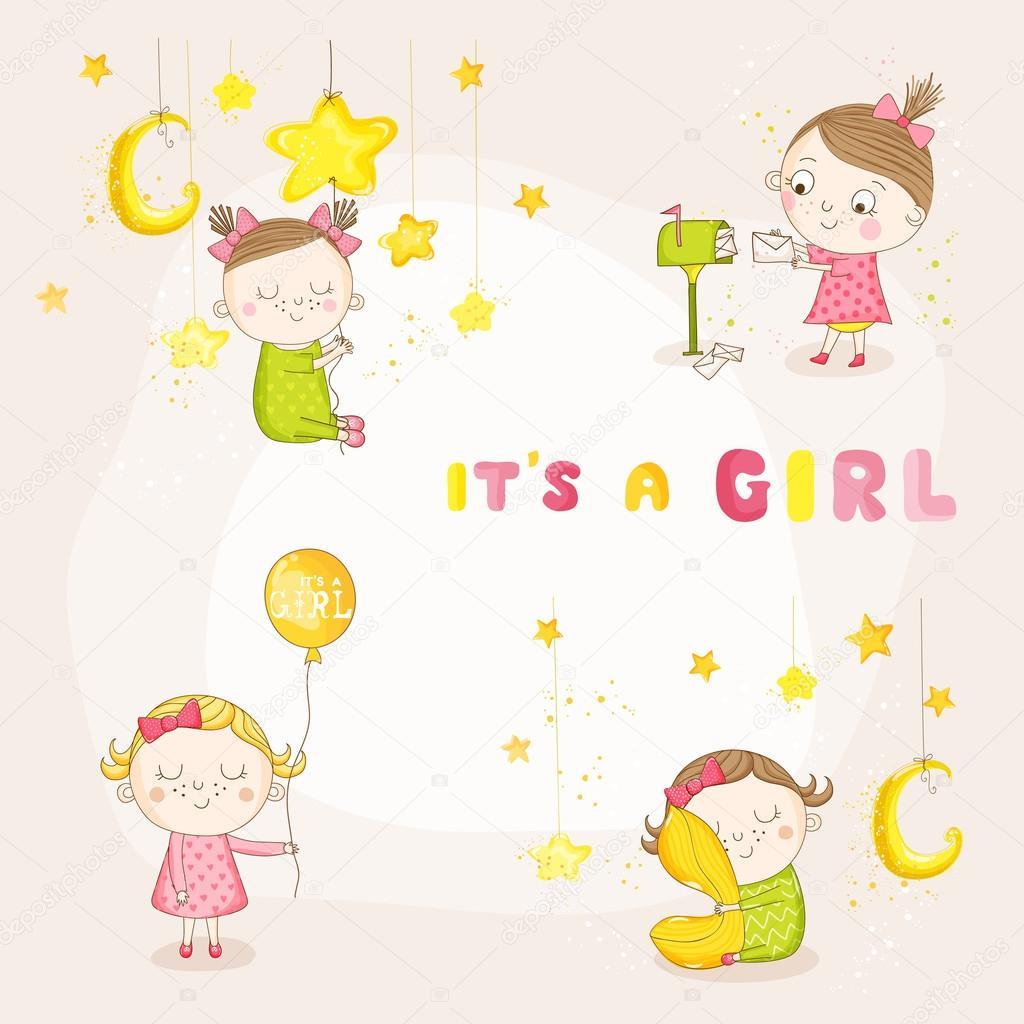 ベクトルでかわいい赤ちゃんのイラストが女の子 - ベビー シャワーの到着
