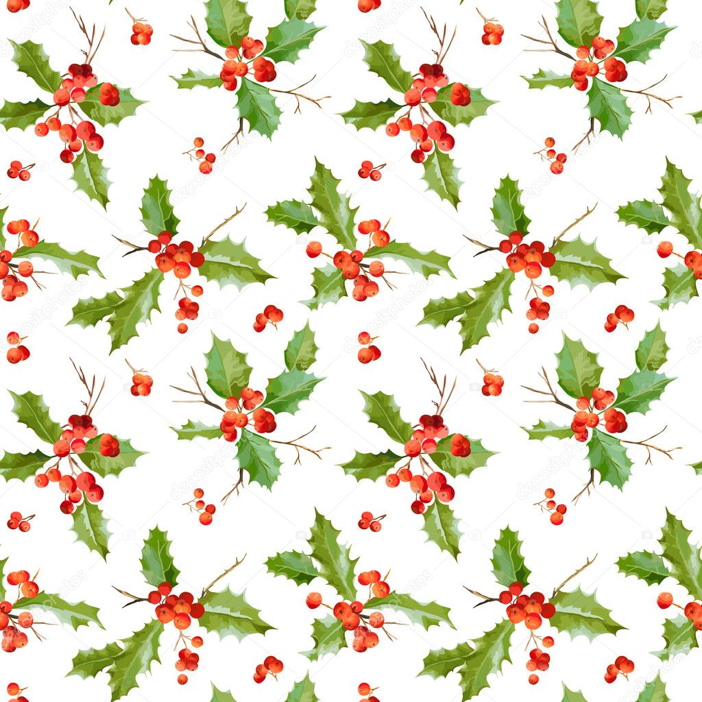 Vintage Holy Berry Background - Seamless Christmas Pattern - in Vector