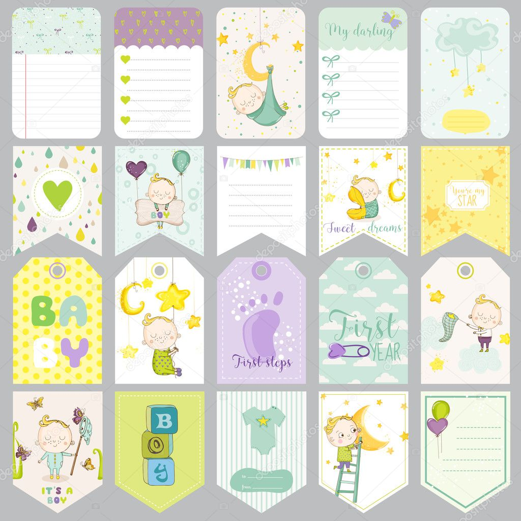 baby boy tags baby banners scrapbook labels cute cards vector
