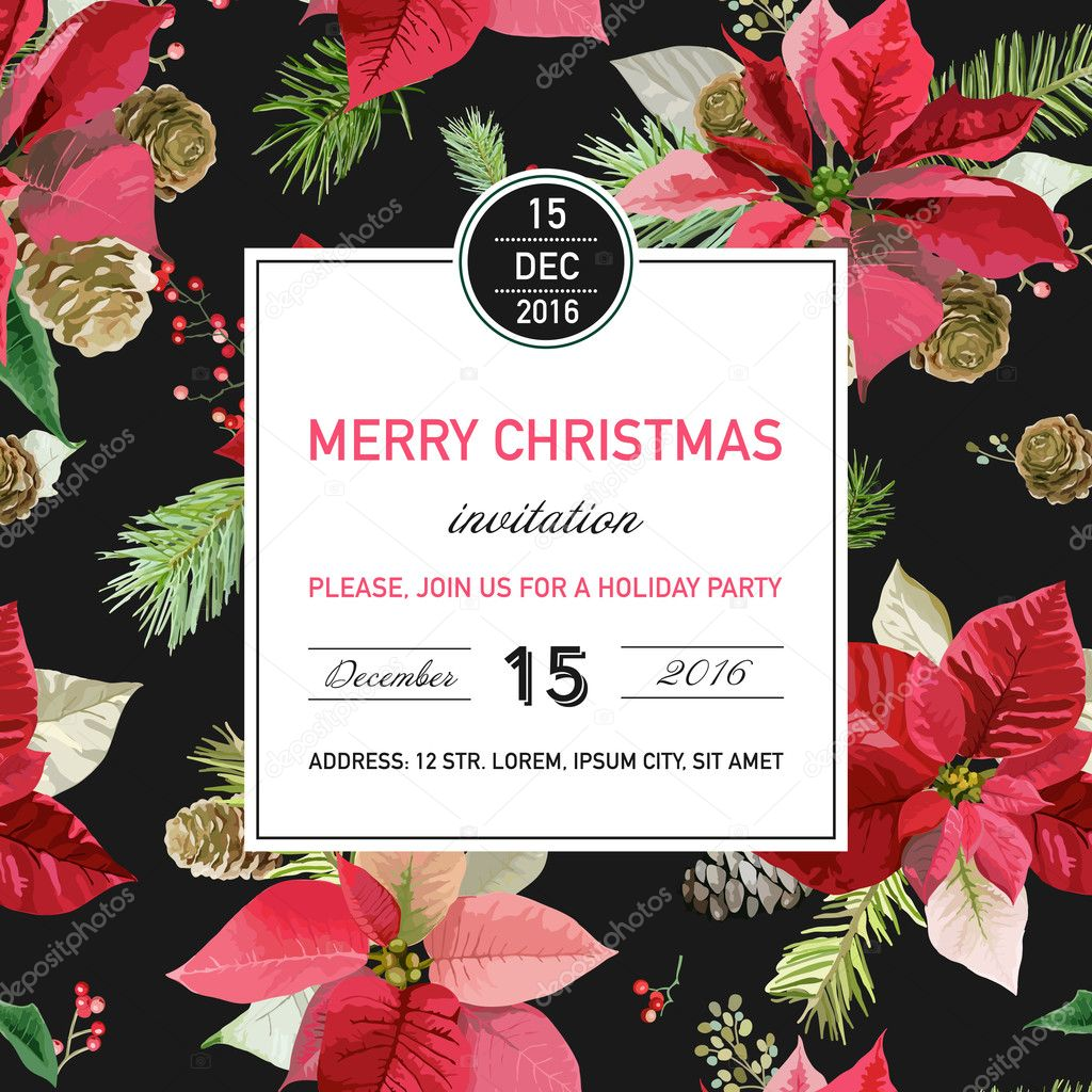 vintage poinsettia christmas invitation card winter background