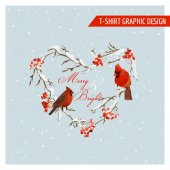 Photo Christmas Winter Birds and Berries Graphic Design - for t-shirt, fashion, prints - in vector