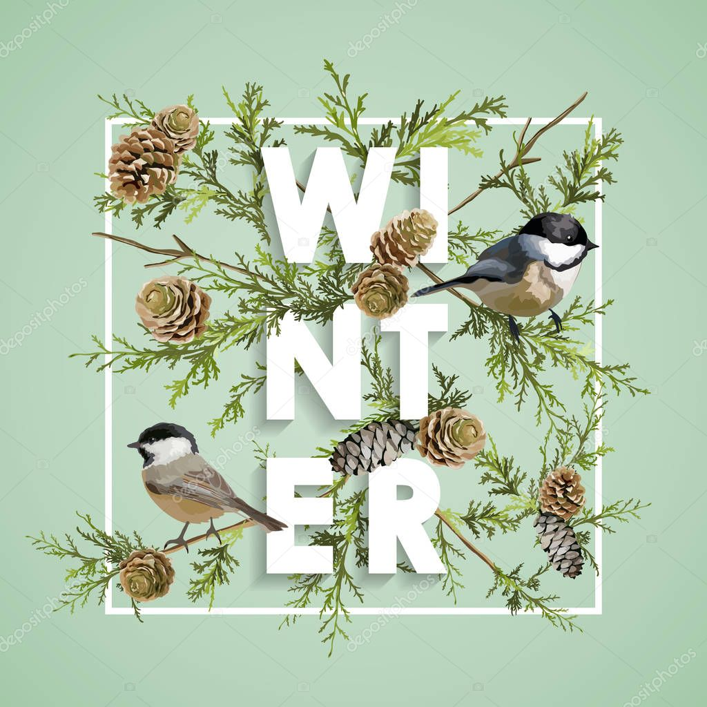 Winter Christmas Design in Vector. Winter Birds with Pines Retro Background. T-shirt Fashion Graphic.
