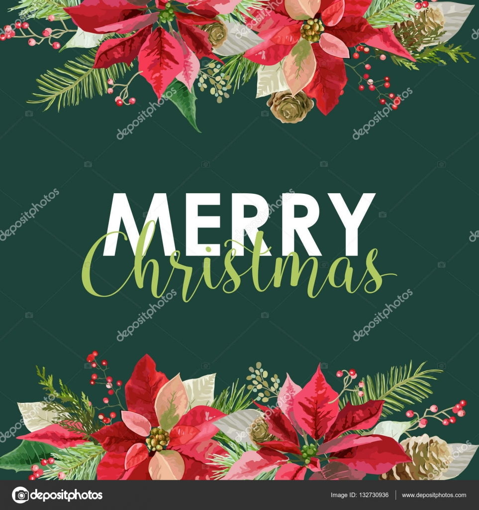 Neujahr und Weihnachten Karte - Vintage Weihnachtsstern rot ...
