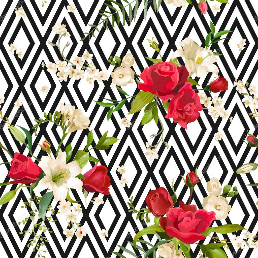 Vintage Rose and Lily Flowers Stripes Background. Spring and Summer Seamless Pattern in Vector