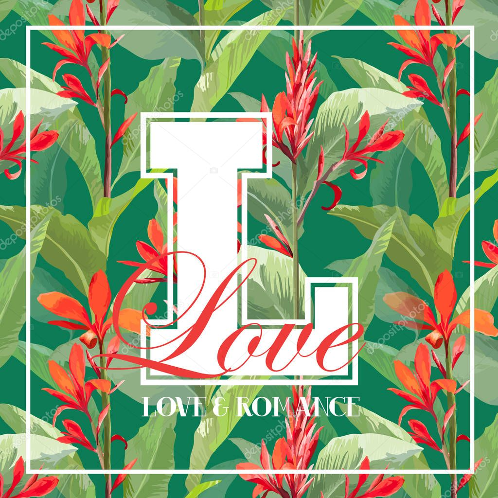 Vintage Tropical Leaves and Flowers Graphic Design for T shirt, Fashion, Prints in Vector