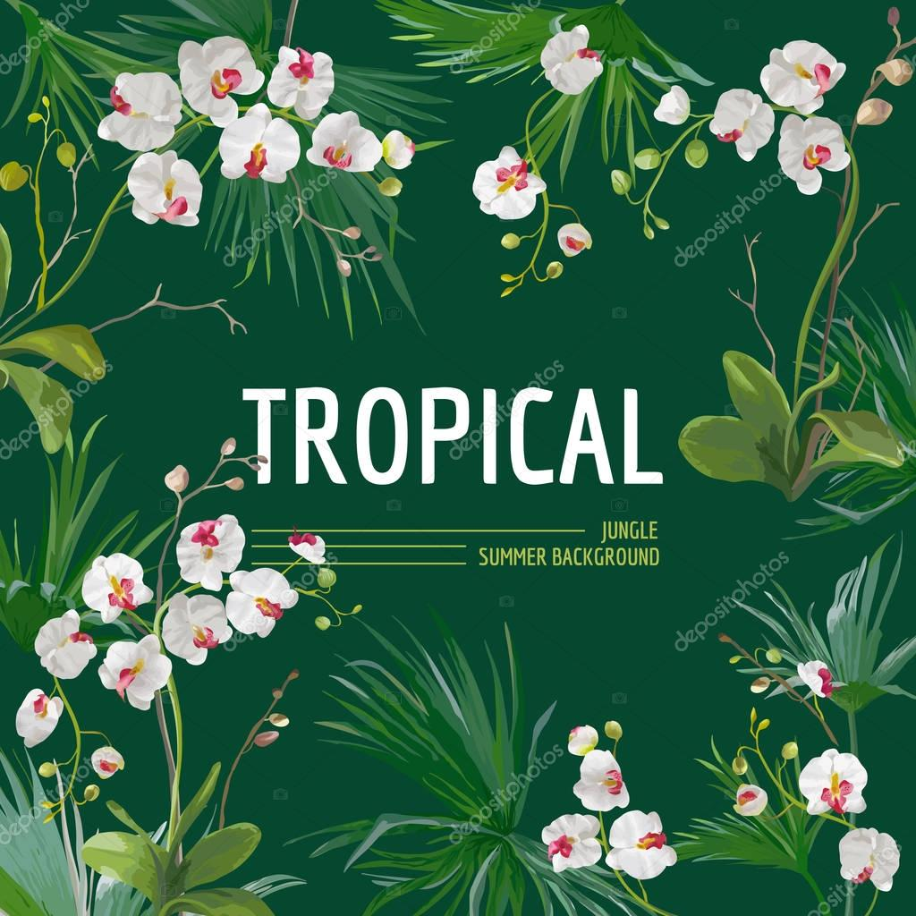 Tropical Palm Leaves and Orchid Flowers Background. Graphic T-shirt Design in Vector