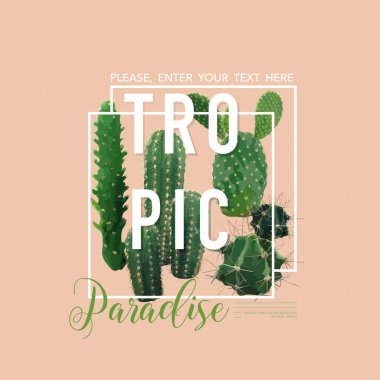 Vintage Tropical Summer Cactus Graphic Design for T shirt, Fashion, Prints in Vector