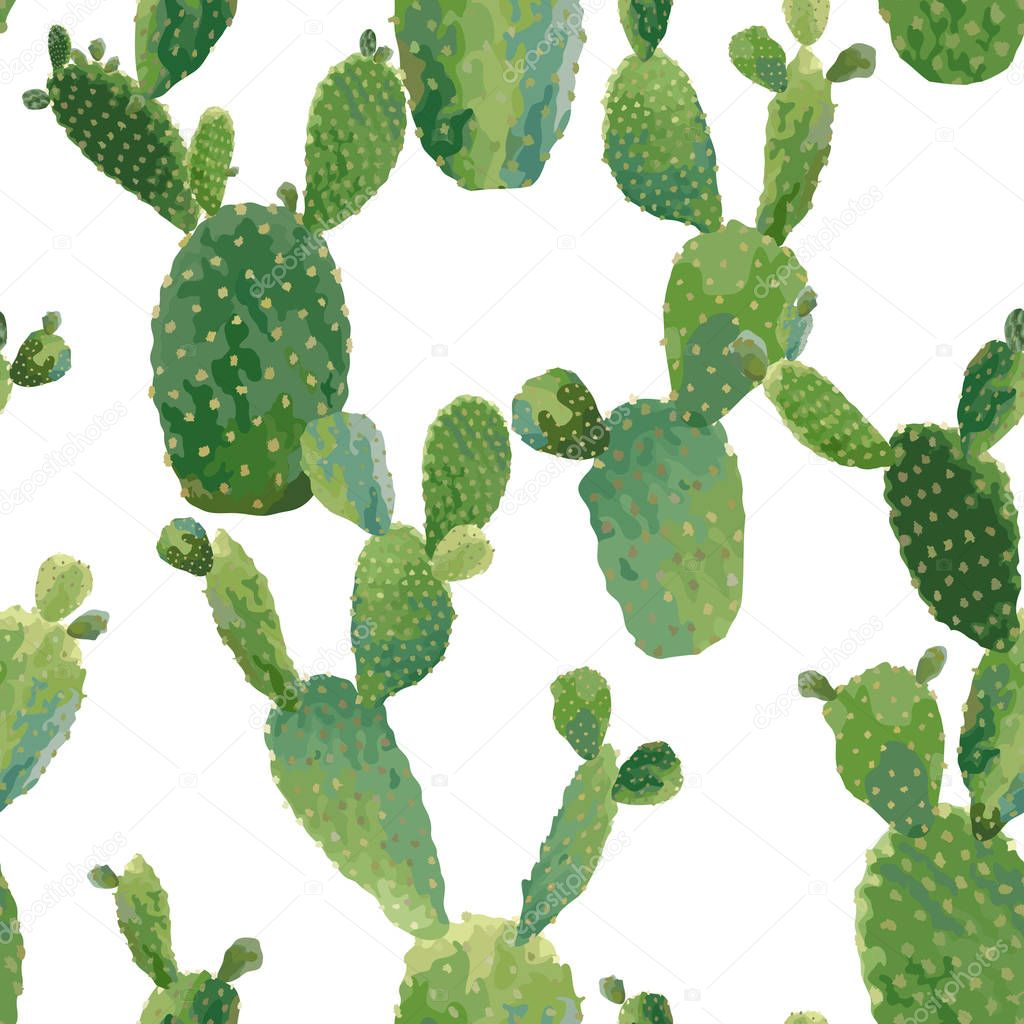 Cactus Plant Seamless Pattern. Exotic Tropical Summer Botanical Background in Vector.