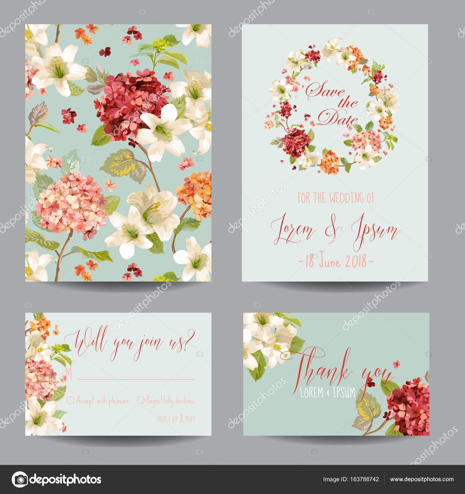 Herbst Vintage Hortensia Blumen Speichern Sie Die Datum Karte Für Hochzeit,  Einladung, Party Im Vektor U2014 Vektor Von Woodhouse