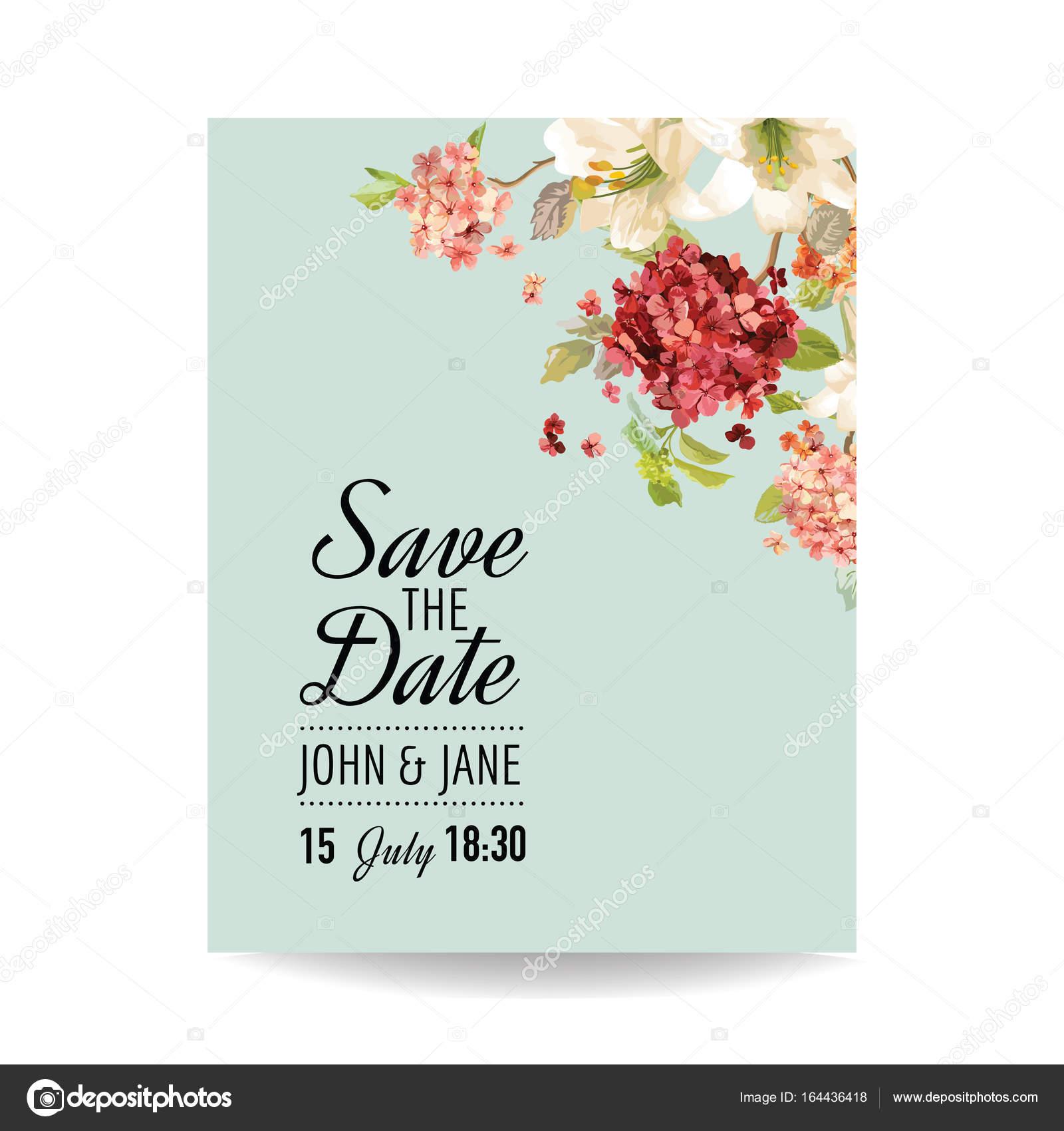 Speichern Sie Die Datum Karte Mit Herbst Vintage Hortensia Blumen