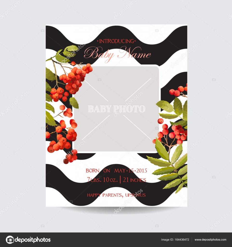 Baby-Dusche Einladung Vorlage. Floral Grußkarte mit Bilderrahmen ...