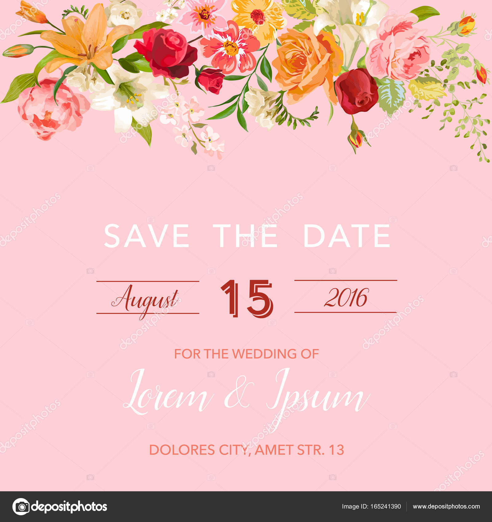 Save The Date Wedding Floral Ornament Wedding Floral: Wedding Invitation Template. Floral Save The Date Card