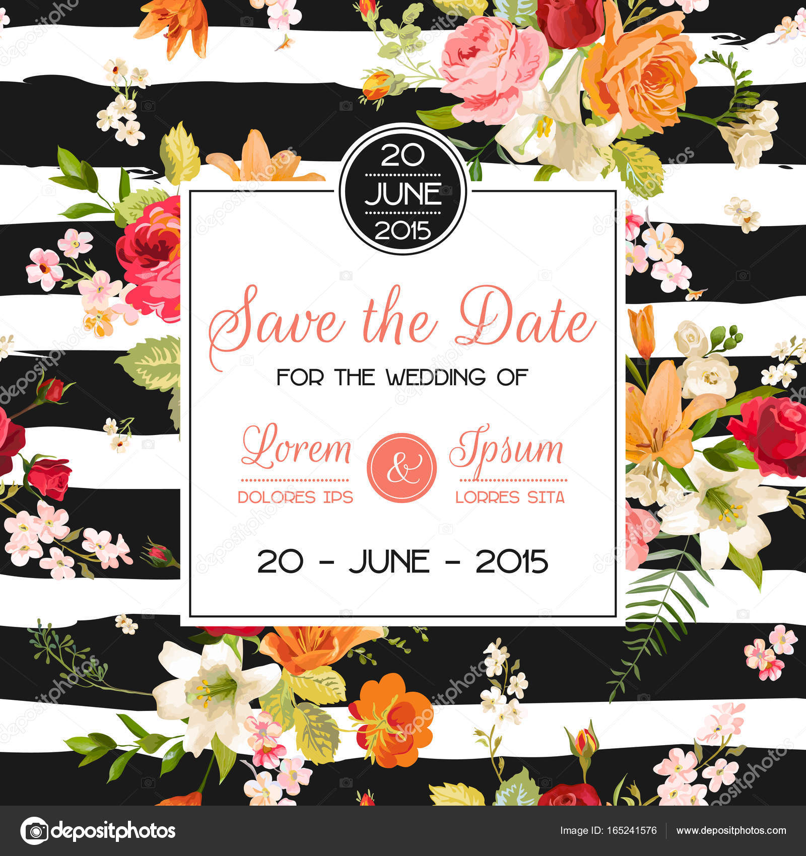 Wedding invitation template floral greeting card with lily and wedding invitation template floral greeting card with lily and orchid flowers decoration for marriage m4hsunfo