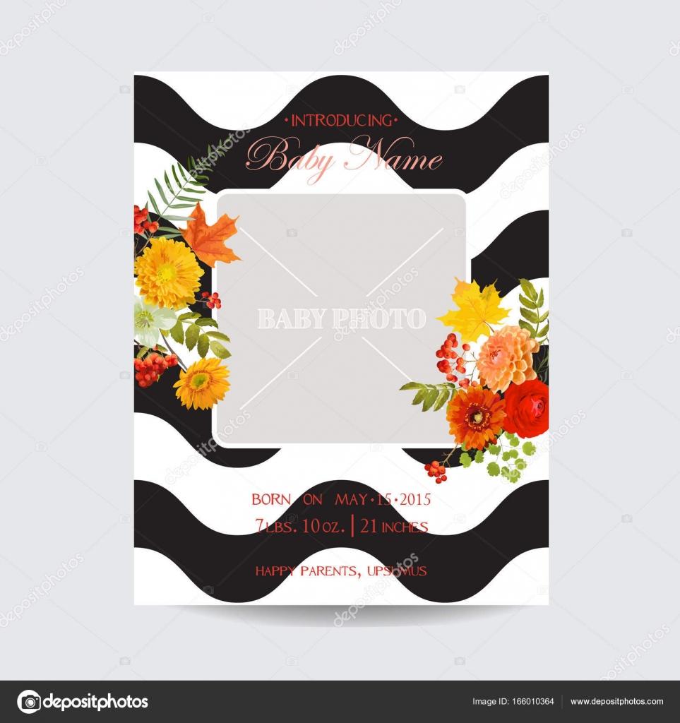 Baby-Dusche Einladung Vorlage. Floral Grusskarte mit Ahorn-Blätter ...