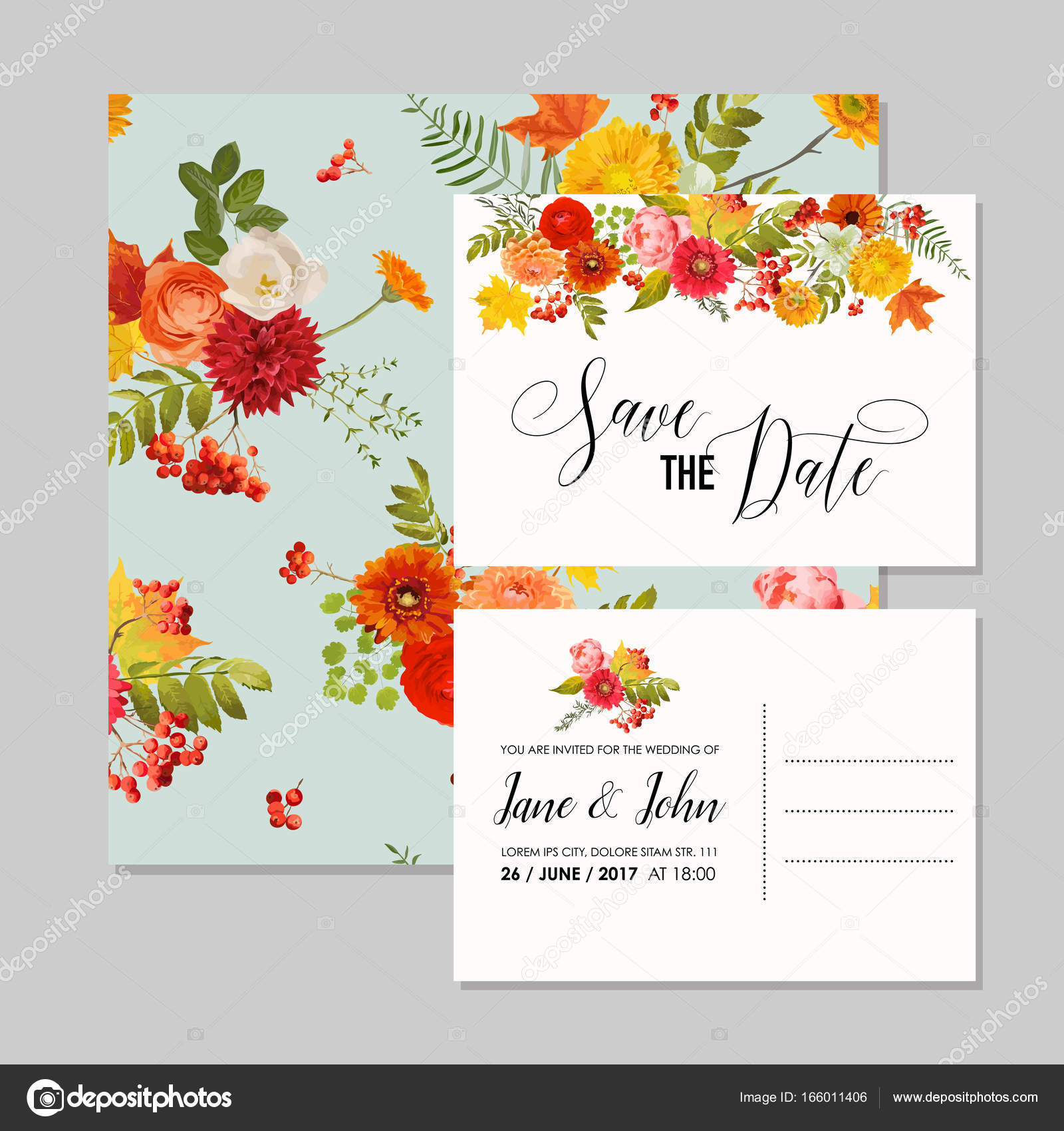 Floral Wedding Invitation Card Template Set with Autumn Flowers ...