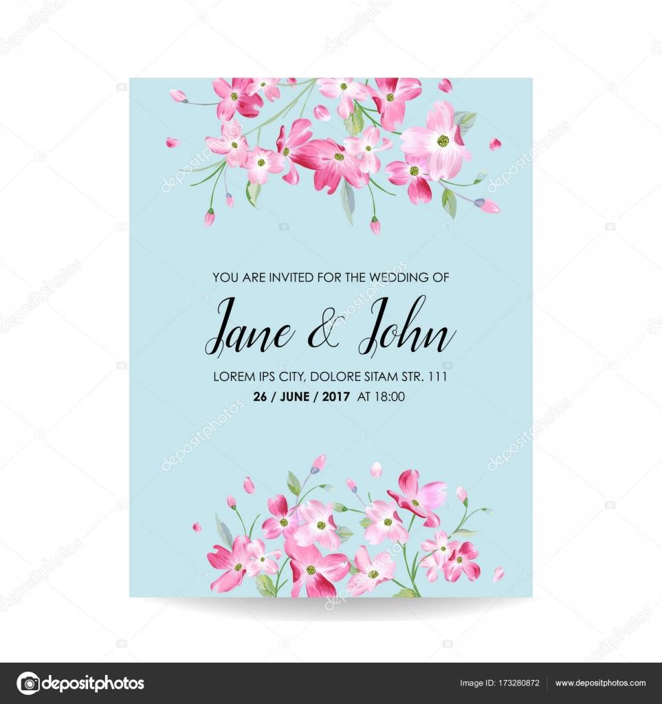 Speichern Sie Die Datum Karte Mit Frühlingsblumen Cherry Für Hochzeit,  Einladung, Party,