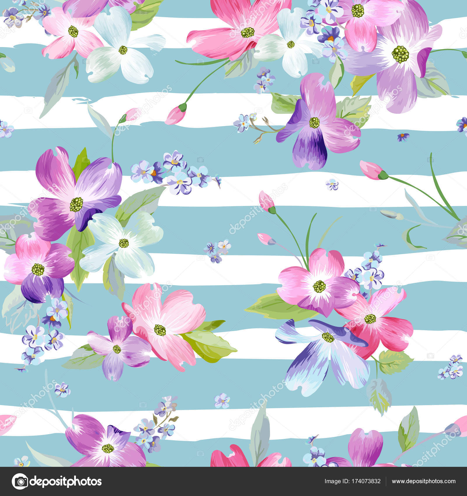 Spring Flowers Seamless Pattern. Watercolor Floral Background for ...
