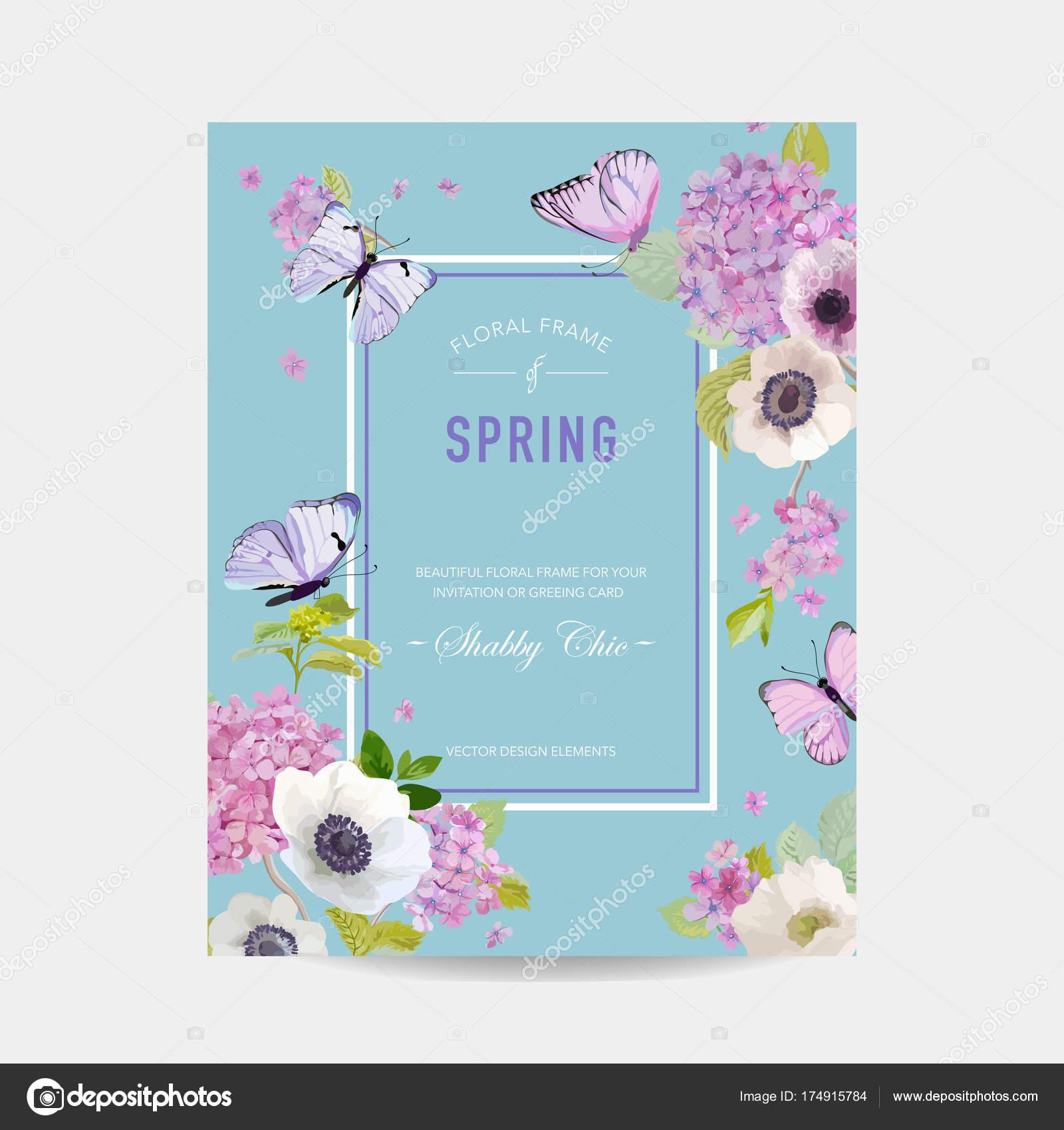 Hochzeit Einladung-Baby-Dusche-Frame-Vorlage. Botanische Karte mit ...