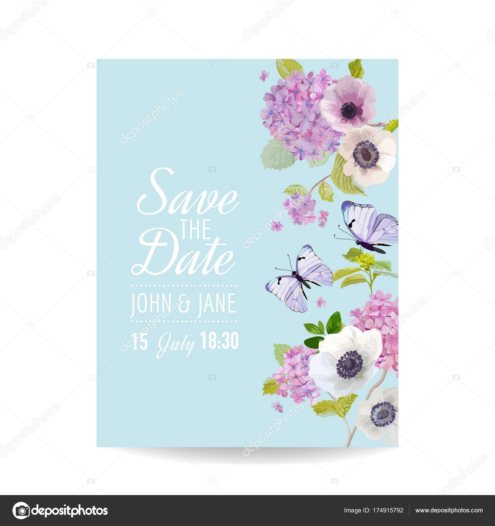 Save the Date Card Wedding Invitation Template. Botanical Card ...