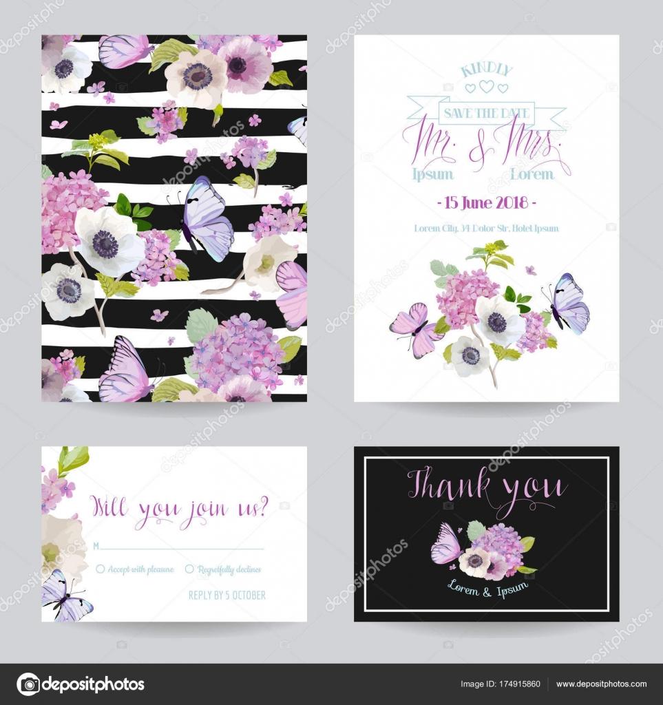 Wedding Invitation Template Set. Botanical Card with Hydrangea ...