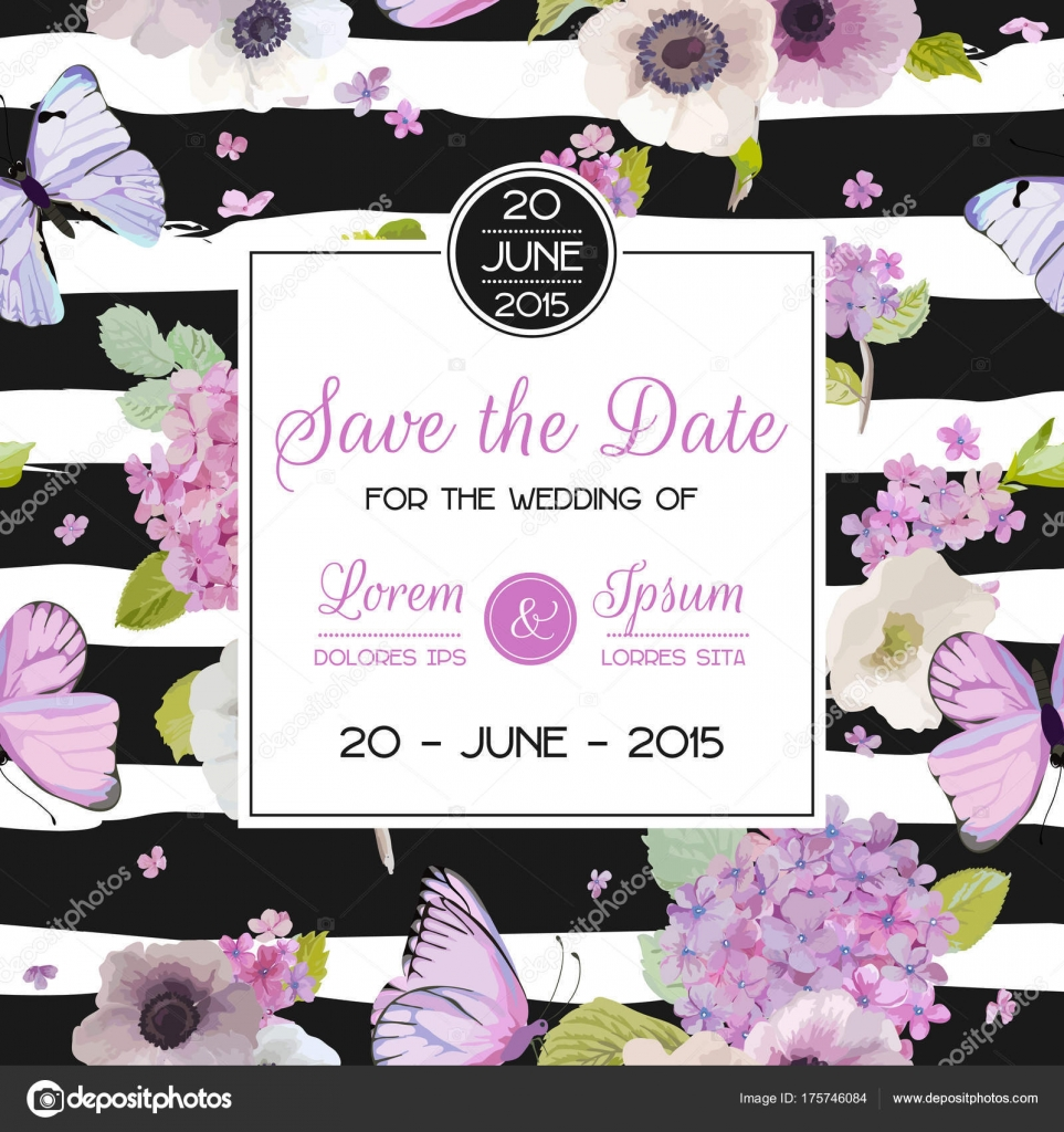 Wedding invitation template save the date card with butterflies and wedding invitation template save the date card with butterflies and hydrangea flowers greeting floral postcard vector illustration vector by woodhouse stopboris Choice Image
