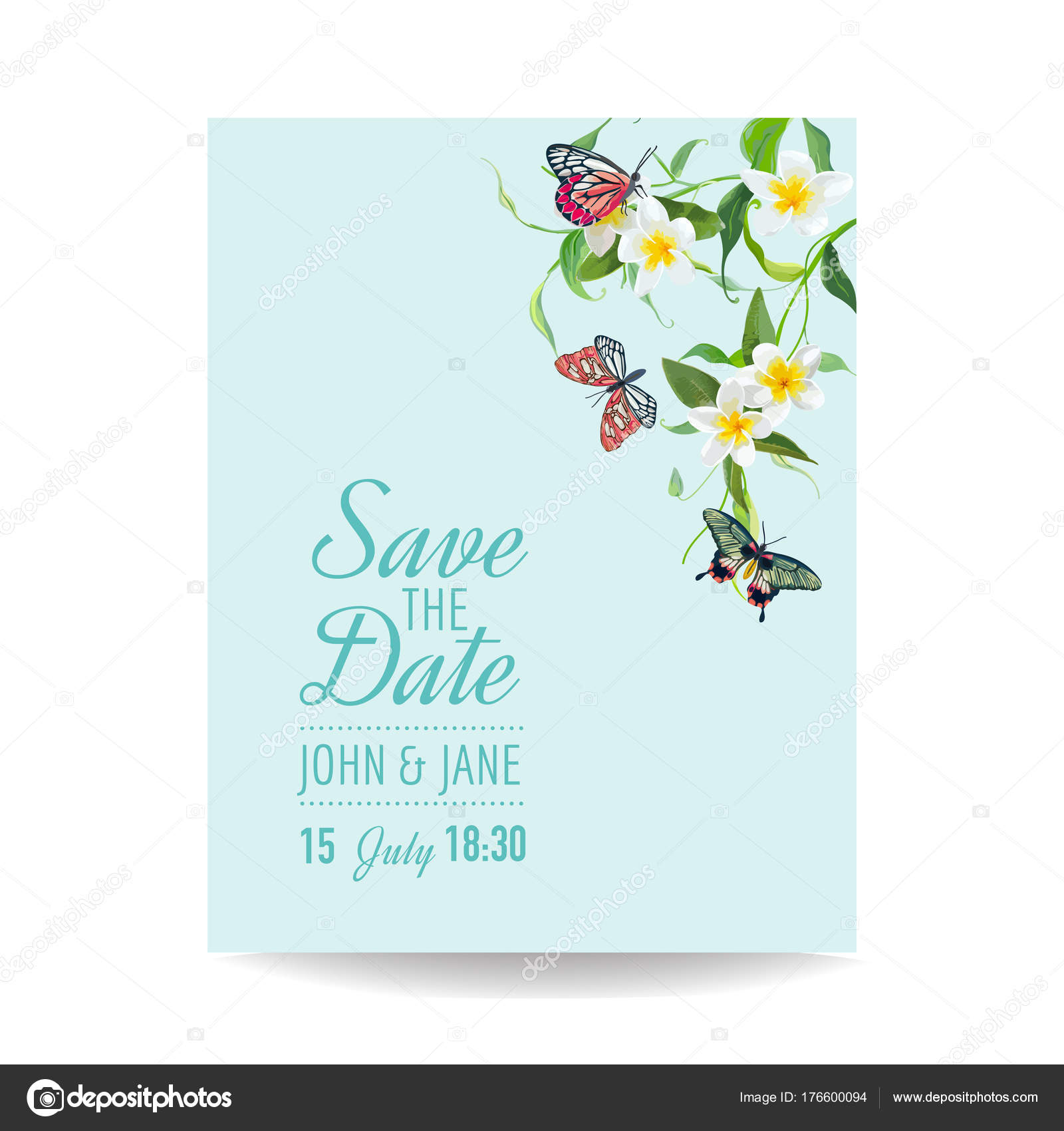 Wedding Invitation Template Tropical Design with Exotic Butterflies ...