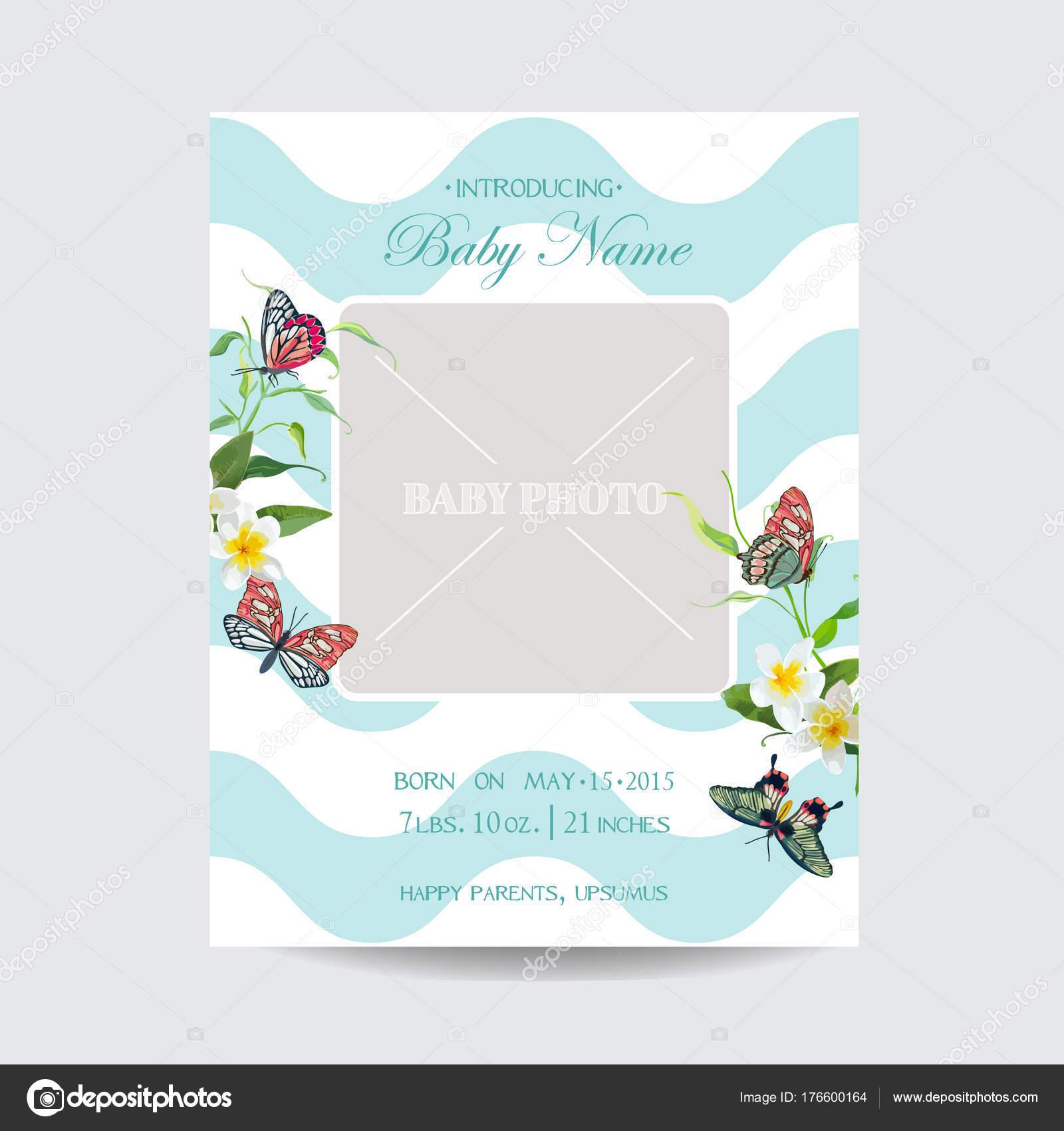 Baby Blumen Einreisekarte mit Schmetterlingen und Blumen. Einladung ...